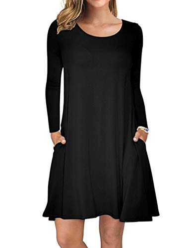 AUSELILY Women's Long Sleeve Pockets Casual Swing T-Shirt Dresses (M, Black)