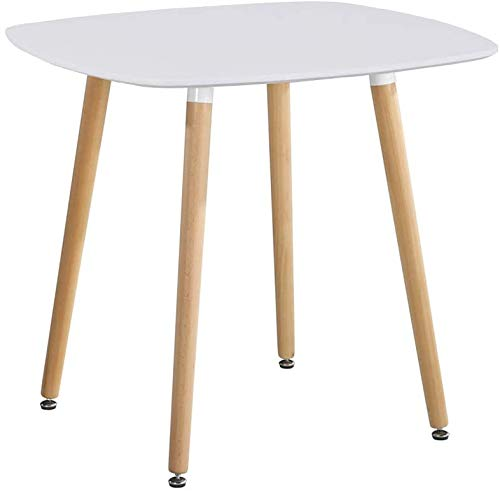 GOLDFAN Modern Dining Table with Natural Beech Legs Kitchen Coffee Table for Living Room Office Furniture, White,90cm (Only Table)