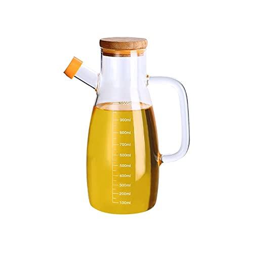 Hanpiyigyh Aceitera, Aceite y vinagre Botella Aceite Vinagre Dispensador Vidrio Vidrio Aceite de Oliva Botella de Aceite Fugas Transparente, Gran Capacidad con medición de Escala 1000ml