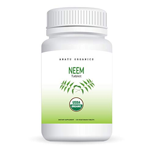 100% Organic Neem 820MG for Healthy Skin, Preventing Mild Acne, Detoxify Body, Blood Cleanser & Purifier. 120 Vegetarian Tablets.