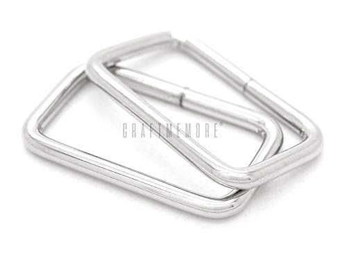 CRAFTMEMORE Metal Rectangle Buckle Ring Fits 1-1/4', 1-1/2' Strap Heavy Duty Rectangular Cord for Bag Belt Loop Purse Making (1-1/4' x 20 pcs, Silver)