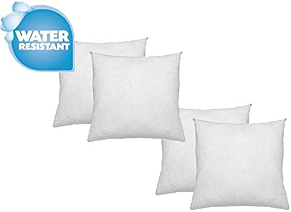 IZO Home Goods Premium Outdoor Anti Mold Water Resistant Hypoallergenic Stuffer Pillow Insert Sham Square Form Polyester 18 L X 18 W 4 Pack Standard White