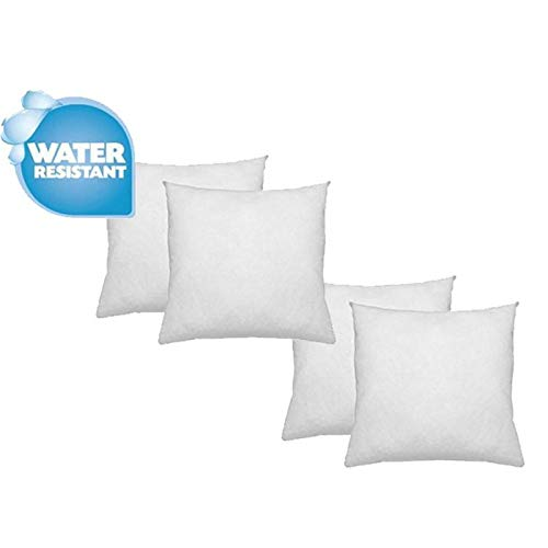 "IZO Home Goods Premium Outdoor Anti-mold Water Resistant Hypoallergenic Stuffer Pillow Insert Sham Square Form Polyester, 18"" L X 18"" W (4 Pack), Standard/White"