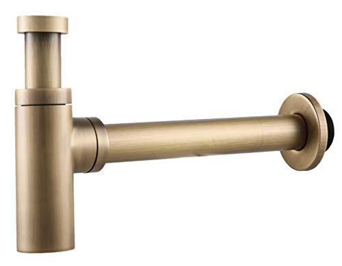 Röhrensiphon Siphon Sifon Geruchsverschluss Bad Küche Antik Messing YUETAI (Antik Messing)