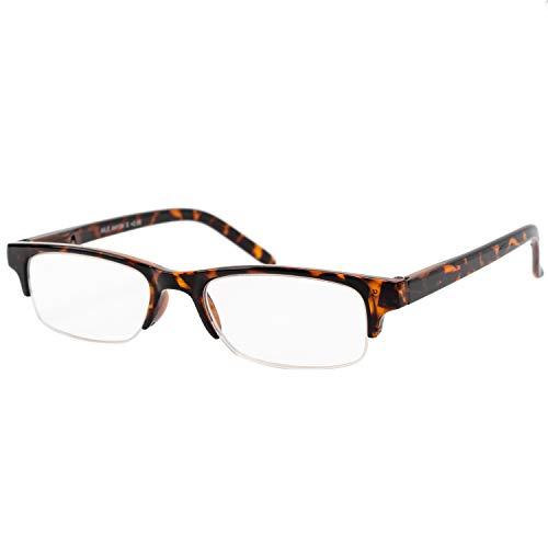 エール 老眼鏡 3.0 度数 ハーフリム バネ蝶番 デミ柄 AH134S