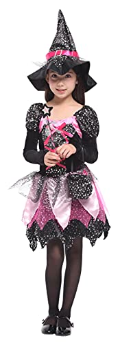 GEMVIE Costume da Strega Bambina Vestito Strega Halloween Carnevale con Stella per Bambina(4-6 anni)