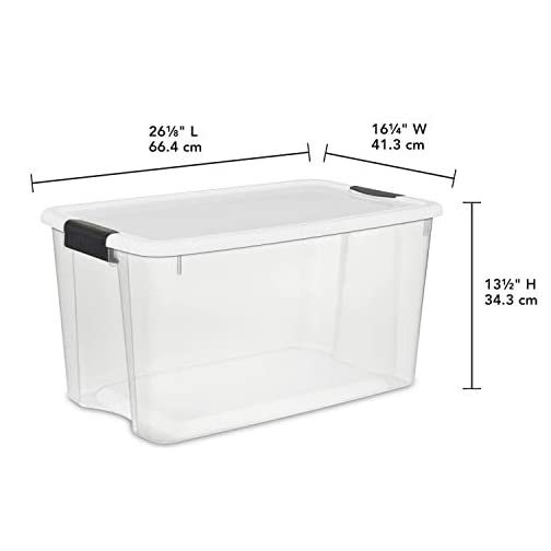 19889804 70 Quart/66 Liter Ultra Box Clear with a White Lid and Black Latches 4