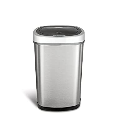Ninestars DZT-50-9 Automatic Touchless Motion Sensor Oval Trash Can, 13.2 Gal. 50 L, Stainless Steel
