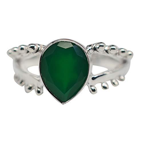 Ring Sterling-Silber 925 grüner Onyx Größe 8 US 3,67 g Schmuck