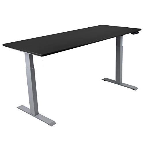 HORI® Schreibtisch PC Computertisch oder als Arbeitstisch mit elektrisch höhenverstellbarem Tischgestell I Maße: 180 x 74 cm   bis 120 kg I Silbernes Tischgestell mit schwarzer Platte