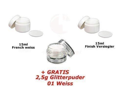 15ml Français Blanc + 15ml Finish + Glitterpuder 01 Gratuit
