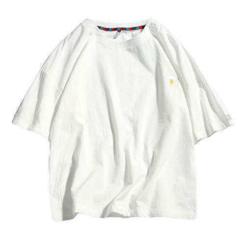 TEBAISE T-Shirt Herren Sommer Rundhals Kurzarm Männer O-Ausschnitt Moderner T-Shirt Einfarbig Crew Neck Sweatshirt Lose Leinen Tops Bluse Slim Fit 2019 Vatertags Männertag
