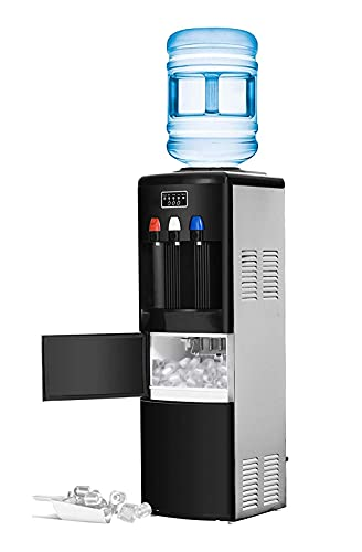 ADT Hot and Cold Water Dispenser Built-in Ice Maker Top Loading Water Dispenser with Child Safety Protect 5 Gallon Black and Stainless Steel