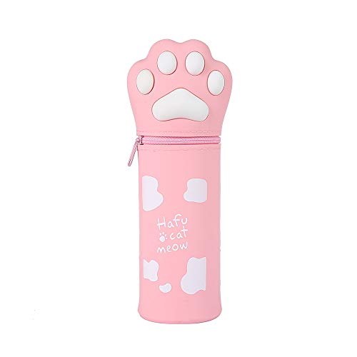 AFAN Vertical Pencil Case (Pen Holder)-4Colors Large Capacity Pencil Case Storage Bag for School Stationery Special Pencil Case for School Supplies Office and Teenagers (Cute Cat Paw Type) (Pink)