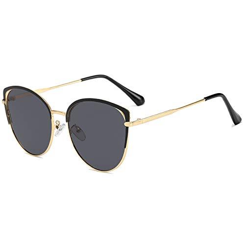 QFSLR Gafas de sol polarizadas ojo de gato de moda gafas de sol de metal marco de las señoras 100% protección UV, C