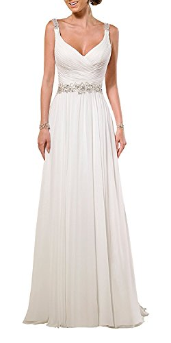 YASIOU Hochzeitskleid Damen Weiß Lang tüll A Linie Glitzer Chiffon mit Schleppe Brautkleider