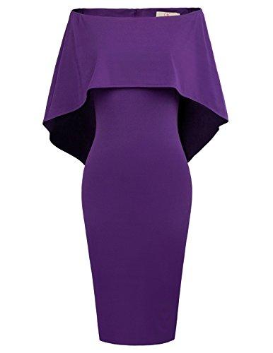 GRACE KARIN Women Off Shoulder Batwing Cape Midi Dress M Purple