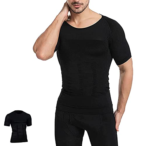 KFXD Men's Shaper Cooling T Shirt, Suitable For Sports and Fitness Running, Gym Workout L Negro