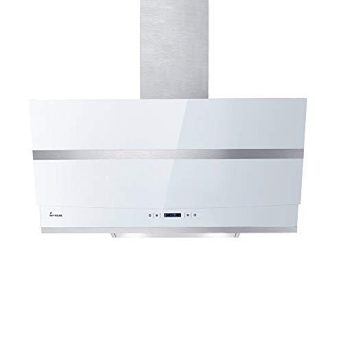 KKT KOLBE Kopffreie Dunstabzugshaube/Wandhaube / 80cm / Edelstahl/weißes Glas/WIFI/Extra-leise / 4 Stufen/RGBW-LED-Beleuchtung/TouchSelect Sensortasten / HERMES807WM
