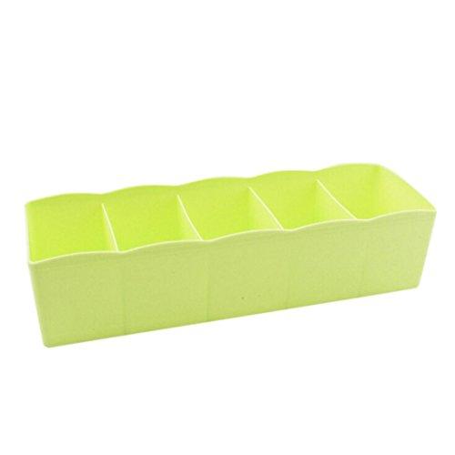 Erthome 5 cellules Plastique Cravate Chaussettes Bra Drawer cosmétiques Divider Tidy Boîte de rangement, Plastique, Green, (L*W*H):27cm x 6.5cm x 8.5cm/10.63x2.56x3.35 inch