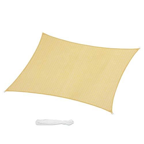 Sekey Toldo Vela de Sombra Rectangular HDPE Protección Rayos UV Resistente Permeable Transpirable para Patio, Exteriores, Jardín, con Cuerda Libre y Kit de Montaje, 3×5m Beige