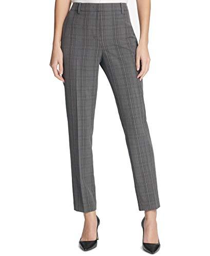 DKNY Womens Plaid Slim Fit Skinny Pants Gray 16