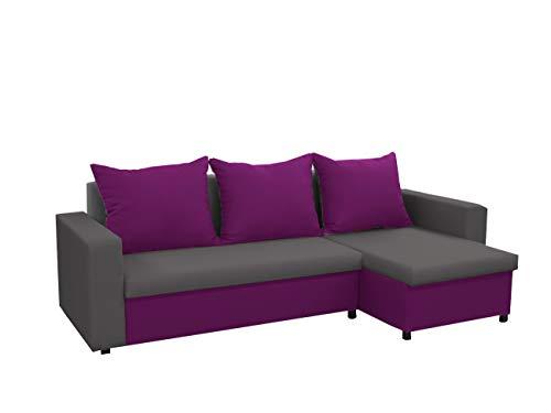 mb-moebel kleines Ecksofa Sofa Eckcouch Couch mit Schlaffunktion und Zwei Bettkasten Ottomane L-Form Schlafsofa Bettsofa Polstergarnitur LARS (Grau + Lila, Ecksofa Rechts)