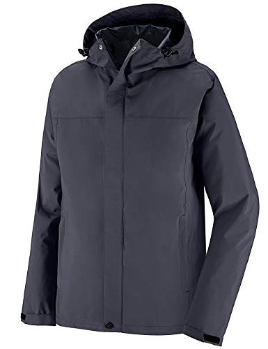 Wantdo Men's Rain Gear Waterproof Rain Jacket Outdoor Shell Rain Coat Gray M