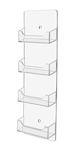 マーケティングホルダー 24個セット 透明 4ポケット 名刺ホルダー 水平壁取り付け