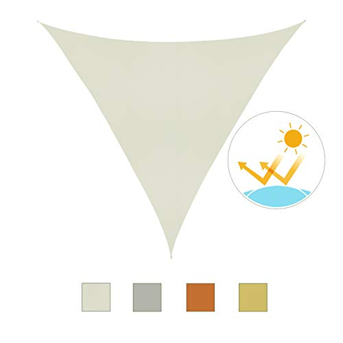 HOMCOM Outsunny Toldo Vela Color Crema sombrilla Parasol triangulo Tela de Poliéster Jardin Playa Camping Sombra Medidas, Medida 5x5x5 Metros, Color Crema