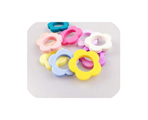 Great Features Of Silicone Flower 5Pcs Necklace Chic Jewel Silicone Beads Secure Clasp Baby,Random C...
