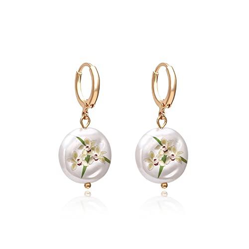 HMMJ Pendientes de aro, Pendientes con bisagras de Aros pequeños con Perla Impresa Simple para Mujeres y niñas (Color : Orchid)