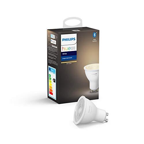 Philips Lighting Hue White Faretto LED Connesso, con Bluetooth, Attacco GU10, Dimmerabile, Tutte le Sfumature della Luce Bianca, 1 Pezzo, Dispositivo Certificato per gli umani