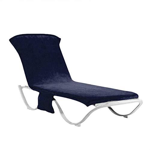 Tatayang Sonnenliege Handtuch, Schonbezug für Gartenliege Liegestuhlauflage, Handtuch für Sonnenliege Strandtuch für Liegestuhl, Liegestuhl Bezug mit Seitentasche 215 * 75cm (Dunkelblau)