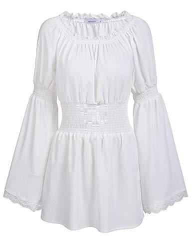 trudge Damen Schulterfrei Vintage Bluse Lange Ärmel Spitze Rüschen Smocked Taille Boho Tops Shirts Frühling Herbst Winter (XL, Weiß)