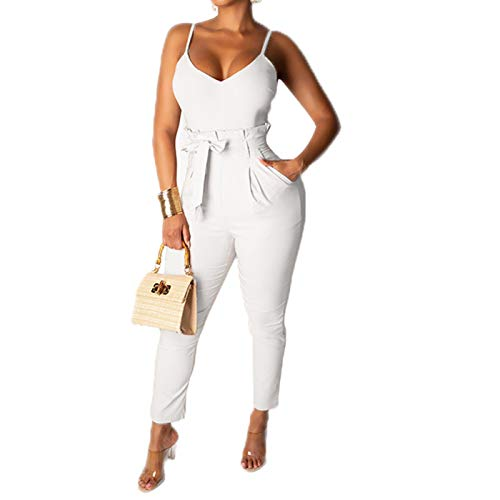 IyMoo Womens Club Jumpsuits Sexy-Spaghetti Strap V Neck Bodycon Jumpsuits Party Outfit White L