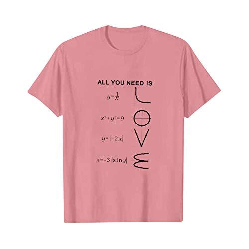 Your New Look Simples par de camisetas de manga corta para hombre y mujer, con el mismo estampado. Rosa. L