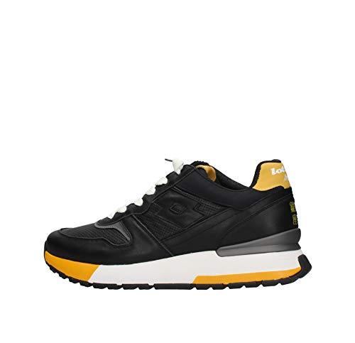 Lotto 214027 - Sneakers con cordones de piel para hombre All Black/Mango Mojit 42