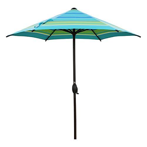 Abba Patio 7.5' Patio Umbrella Market Umbrella Outdoor Table Umbrella with Push Button Tilt & Crank for Patio, Turquoise Stripe