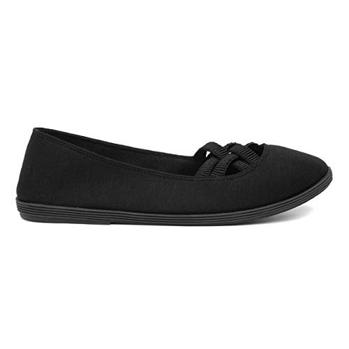 Lilley Womens Black Slip On Canvas Shoe - Size 7 UK - Bl