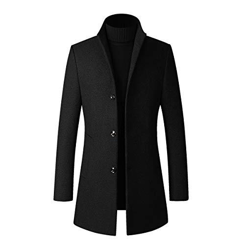 Abrigo de invierno largo para hombre, de lana cálida, delgado, grueso, parka, cortavientos, cuello alto Negro M