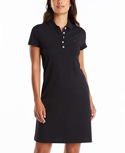 Nautica Women's Easy Classic Short Sleeve Stretch Cotton Polo Dress, True Black, X-Large