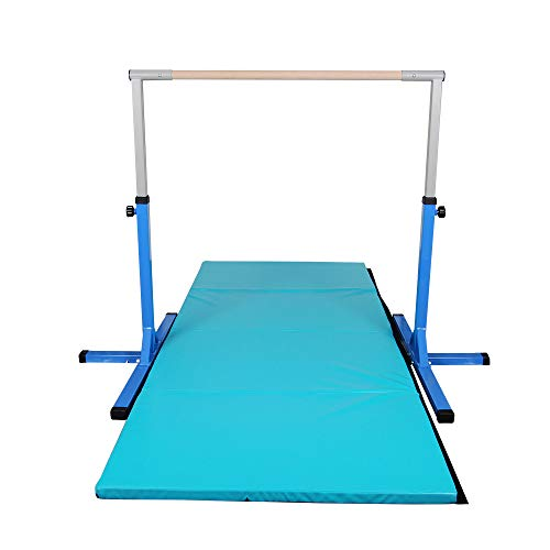 Polar Aurora Gym Gymnastics Training Bar AdjustaPIe Height Horizontal Bar Sturdy Gymnastic for Kids with 4' x 10' Gymnastic Mat Set (Blue&Blue-Green Mat)