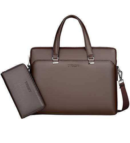 ZYLDK Porte-documents pour hommes Sac à bandoulière en cuir pour ordinateur portable Business Sac Messager Femme