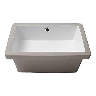 "Vessel Sink Undermount - Kichae 18""x12"" Vessel Sink Modern White Rectangle Undermount Sink Porcelain Ceramic Lavatory Vanity Bathroom Sink with Overflow"