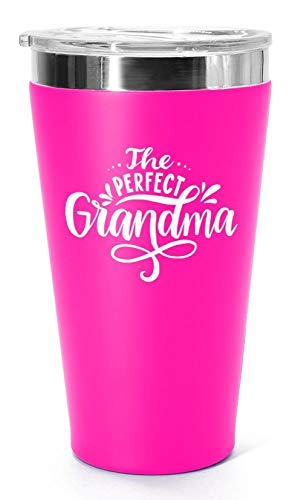 The Perfect Grandma Stainless Steel Vacuum-Insulated Tumbler, Mug with Lid for Coffee, Tea, Wine, Water; Best Travel Cup Gift for Mom, Nana; Cute for Birthdays, Mother's Day; 16 oz. Pink