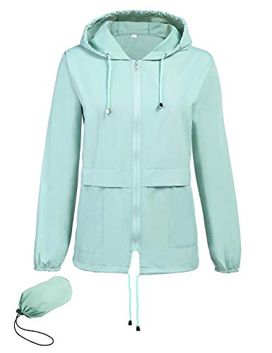 Doreyi Damen Laufjacke Wasserdicht Leichte Regenjacke Packaway Regenmantel Damen Gr. Small, lichtgrün