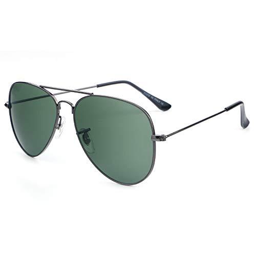 Gafas de sol de moda para hombre y mujer, gafas de sol de sapo de metal, gafas de sol, Gun Frame Dark Green Film,