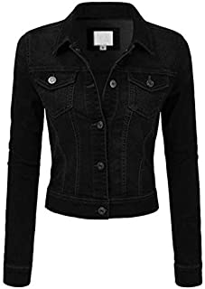 FASHION BOOMY Women's Button Down Long Sleeve Classic Outerwear Cropped Denim Jacket