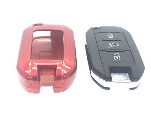 Housse 100% Étui Coque rigide en plastique ABS de haute qualité avec finition brillante porte-clés Protecteur Case Cover pour nouvelle Peugeot 2013 2014 2015 2016 208 508 modèles 2008 (Rouge)